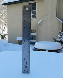 "It might be hard to see but a ruler registered 7.5"" of snow Friday, Jan. 3"